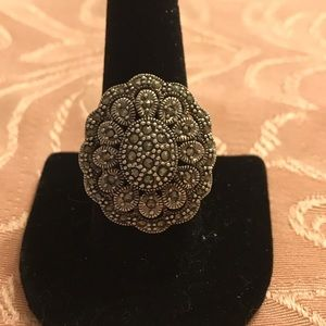 Silver and marcasite fashion ring